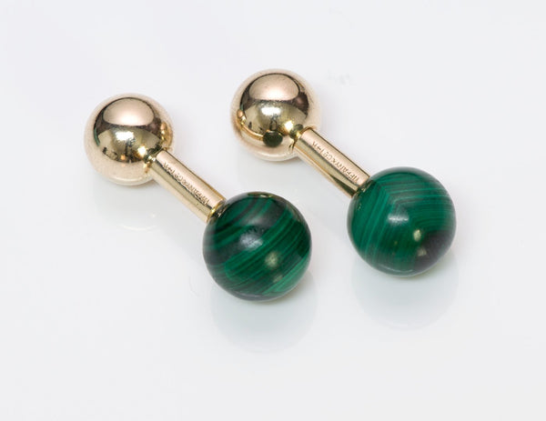 Tiffany & Co. Malachite Gold Barbell Cufflinks 2