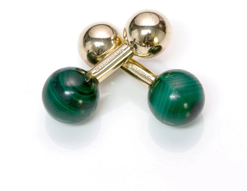 Tiffany & Co. Malachite Gold Barbell Cufflinks