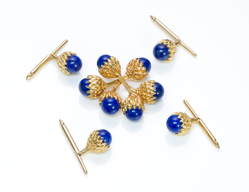 Tiffany & Co. Schlumberger Acorn Lapis Gold Cufflinks Stud Set
