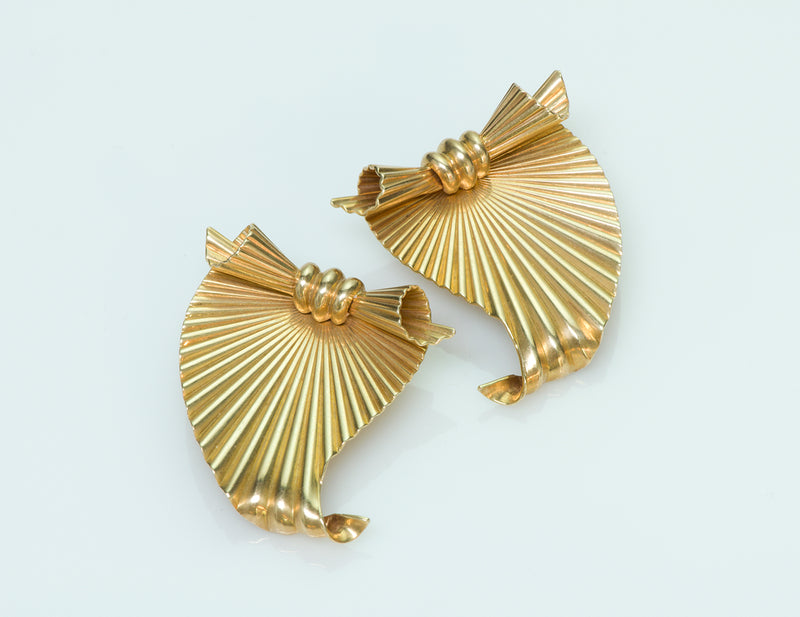 Tiffany & Co. by George Schuler 14K Yellow Gold Fluted Clips