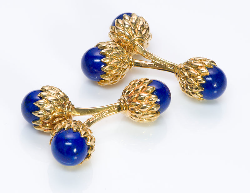 Tiffany & Co. Schlumberger Acorn Lapis Gold Cufflinks
