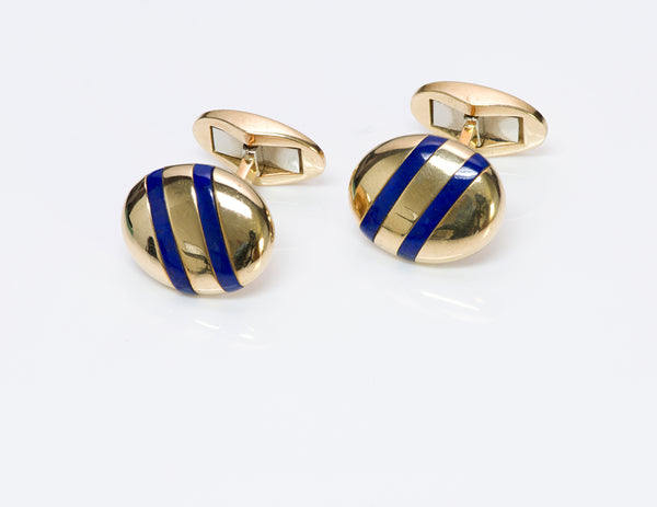 Tiffany & Co. 18K Gold Enamel Cufflinks