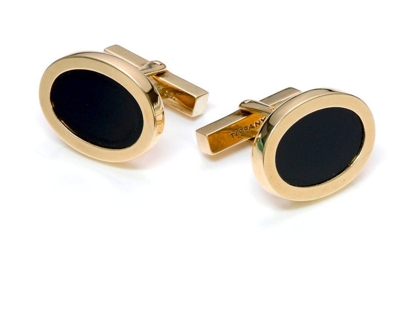 Tiffany & Co. 18K Gold Onyx Cufflinks Stud Dress Set