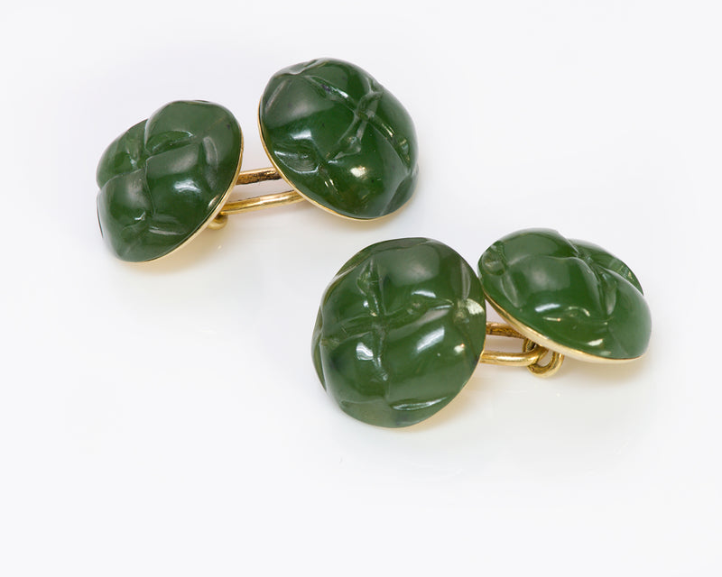 Tiffany Co. Jade 18K Gold Cufflinks