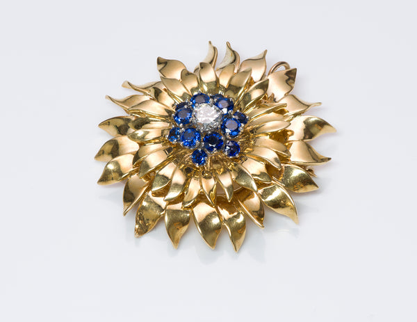 Tiffany & Co. 18K Gold Diamond Sapphire Flower Pendant Brooch