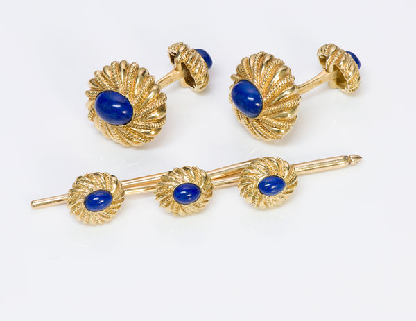 Tiffany Co Schlumberger 18K Gold Lapis Cufflinks Stud Set