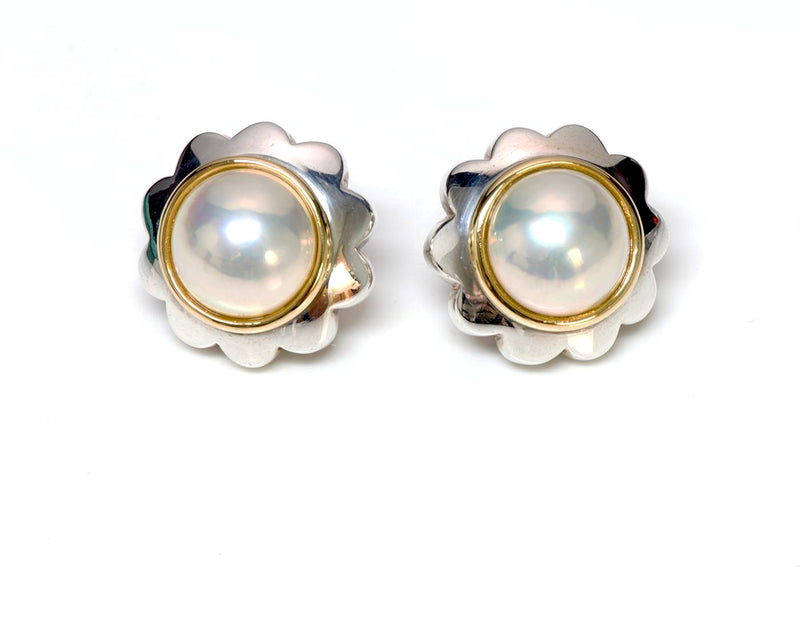 Tiffany & Co. Sterling Silver 18K Gold Mabe Pearl Earrings