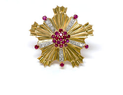 Tiffany & Co. Retro Starburst Ruby Diamond 18K Gold Pin Brooch