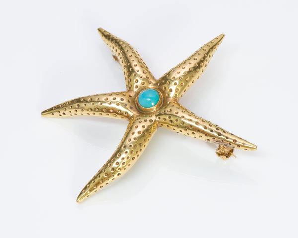 Tiffany & Co. 18K Gold Turquoise Starfish Brooch
