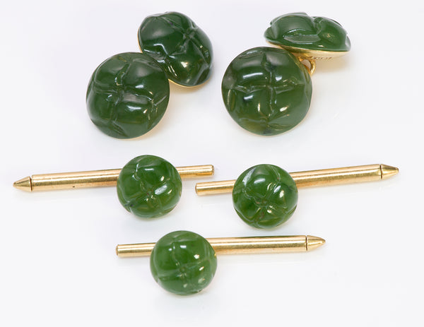 Tiffany & Co. Jade 18K Gold Cufflinks Studs