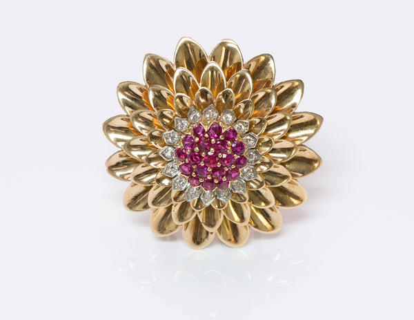Tiffany & Co. 14K Gold Ruby Diamond Brooch