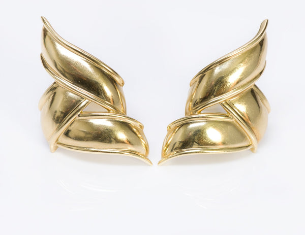 Tiffany & Co. 18K Yellow Gold Ribbon Earrings