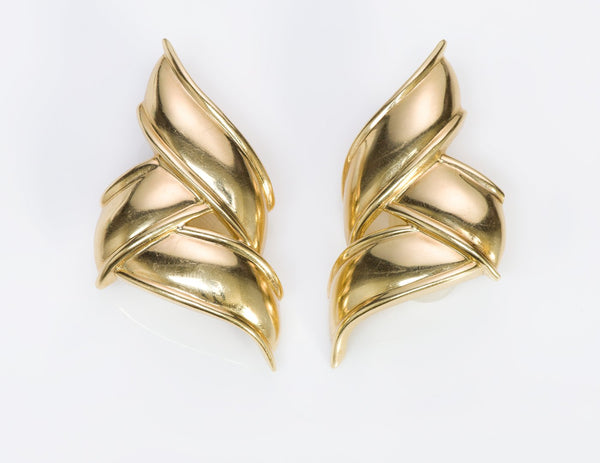 Tiffany & Co. 18K Gold Ribbon Earrings