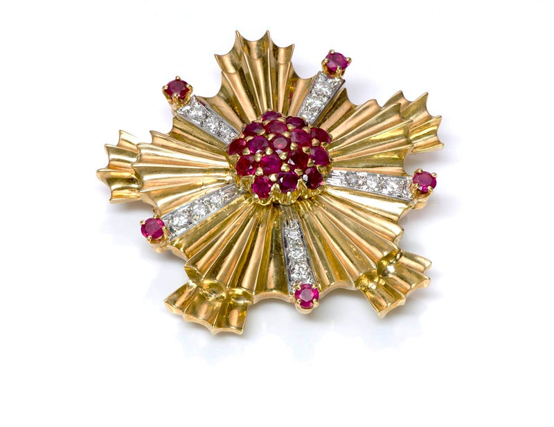 Tiffany & Co. Starburst Ruby Diamond 18K Gold Pin Brooch