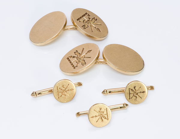 Tiffany & Co. 14K Gold Crest Cufflinks Stud Set