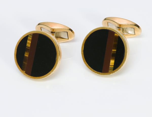 Tiffany & Co. 18K Gold Onyx Jasper Tiger's Eye Cufflinks