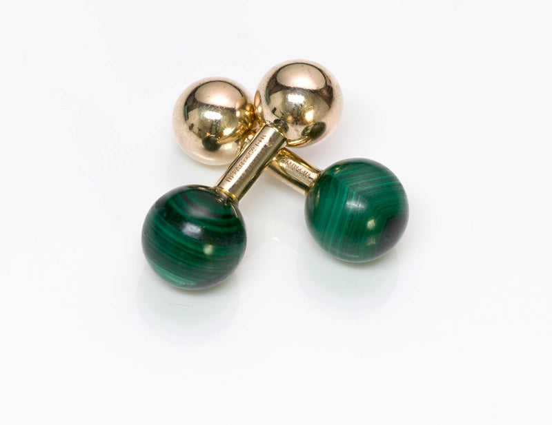 Tiffany & Co. Malachite Gold Barbell Cufflinks 3