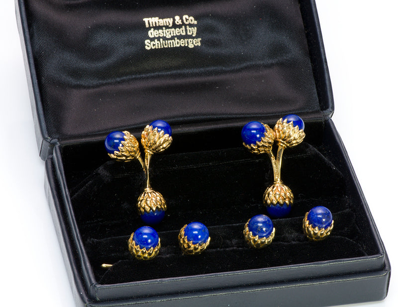 Tiffany & Co. Schlumberger Acorn Lapis 18K Gold Cufflinks Stud Set