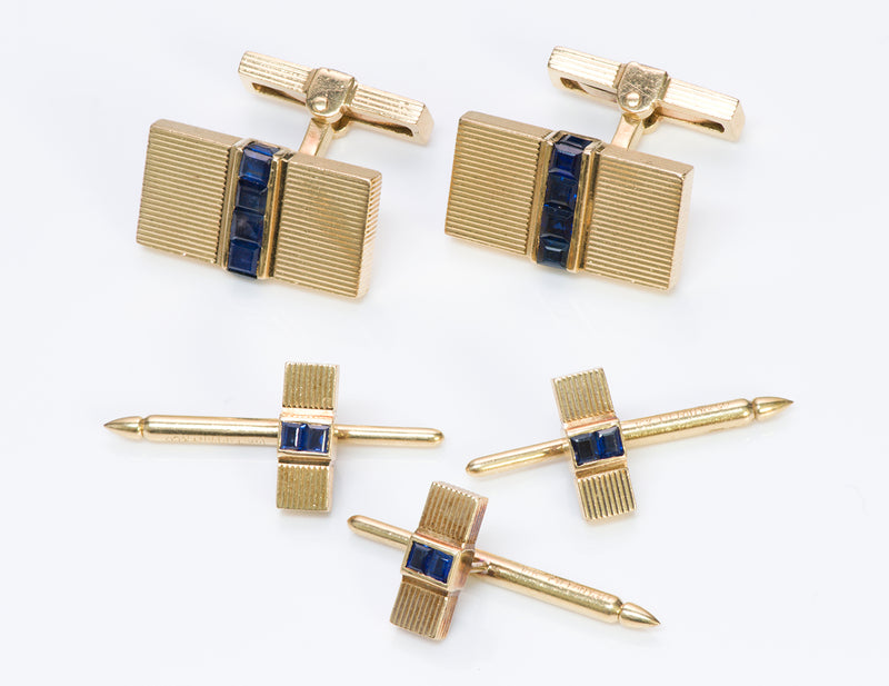 Tiffany Co. 14K Gold Sapphire Cufflinks Stud Set