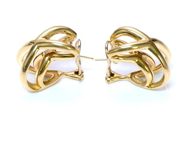 Tiffany Donald Claflin Crisscross 18K Gold Earrings