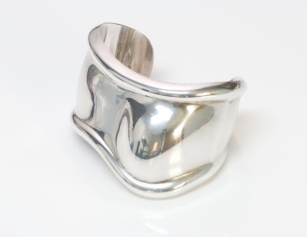 Tiffany & Co. Elsa Peretti Sterling Silver Bone Cuff Bracelet Left Wrist
