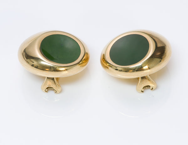 Elsa Peretti 18K Gold Jade Earrings