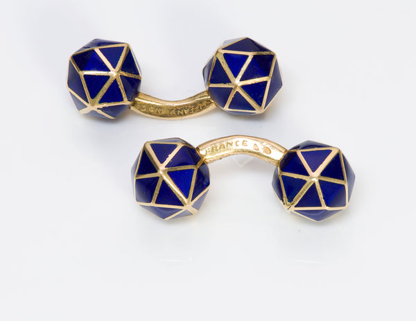 Tiffany Co. Geometric Gold Blue Enamel Cufflinks