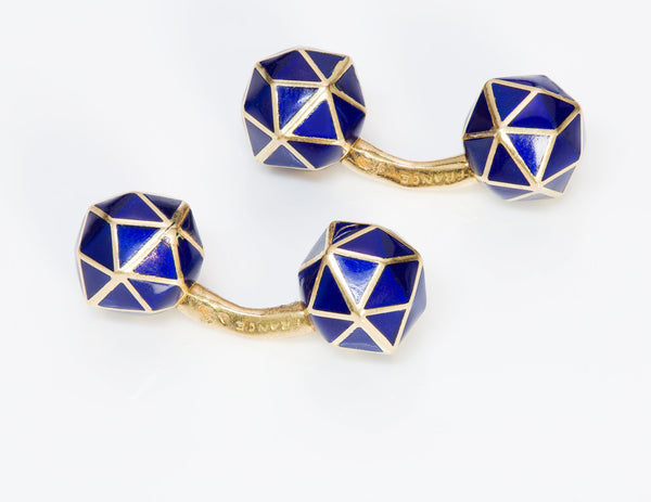 Geometric Tiffany & Co. 18K Gold Blue Enamel Cufflinks