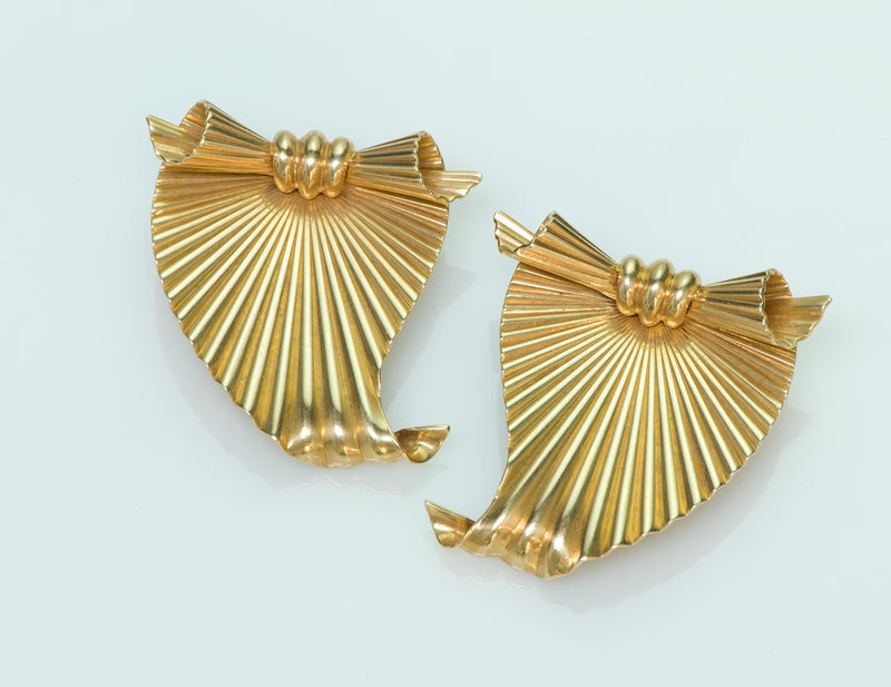 Tiffany & Co. by George Schuler 14K Yellow Gold Fluted Clips 1