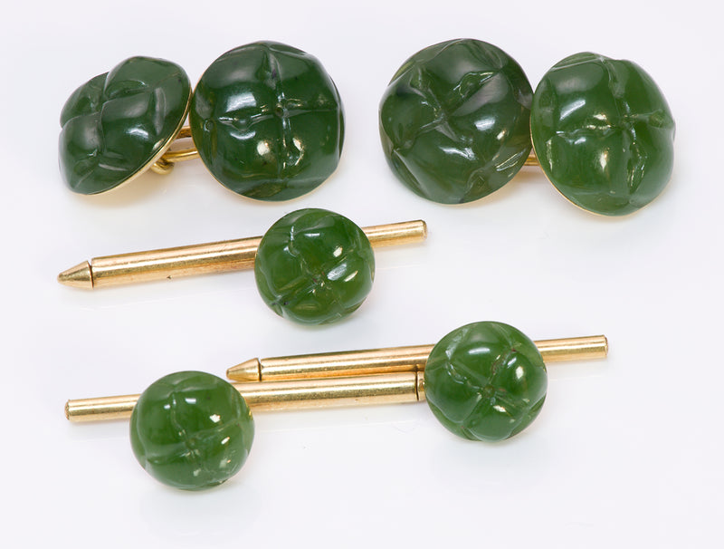 Tiffany & Co. Jade Gold Cufflinks Studs