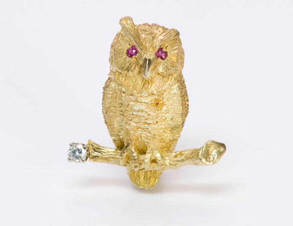 Tiffany & Co. 18K Gold Diamond Ruby Owl Brooch Pin