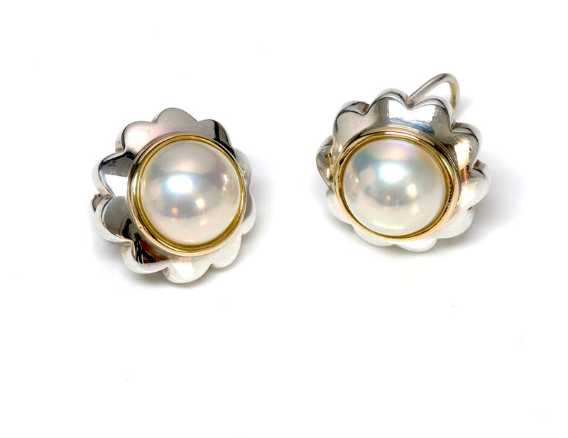 Tiffany & Co. Silver 18K Gold Mabe Pearl Earrings