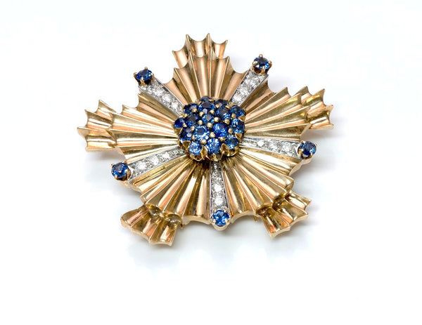Tiffany & Co. Starburst Sapphire Diamond 14K Gold Pin Brooch