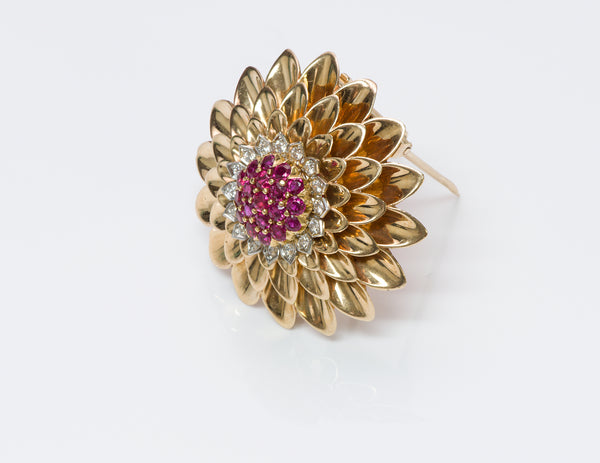 Tiffany & Co. Gold Ruby Diamond Brooch