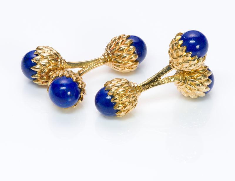 Tiffany & Co. Schlumberger Acorn Lapis 18K Gold Cufflinks