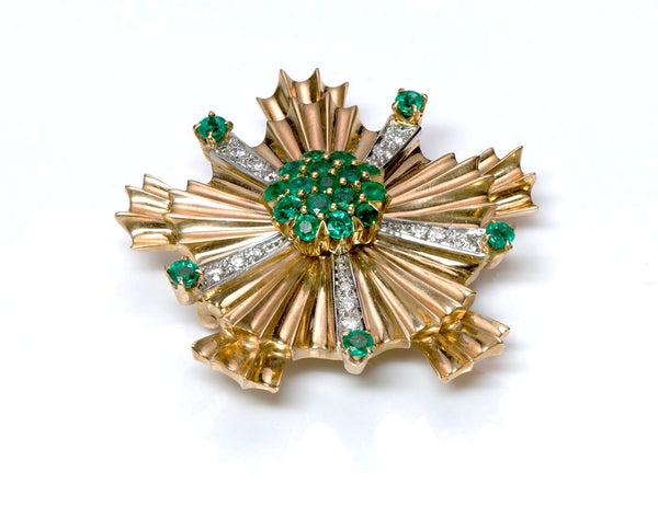 Tiffany & Co. Retro Starburst Emerald Diamond 14K Gold Pin Brooch 1