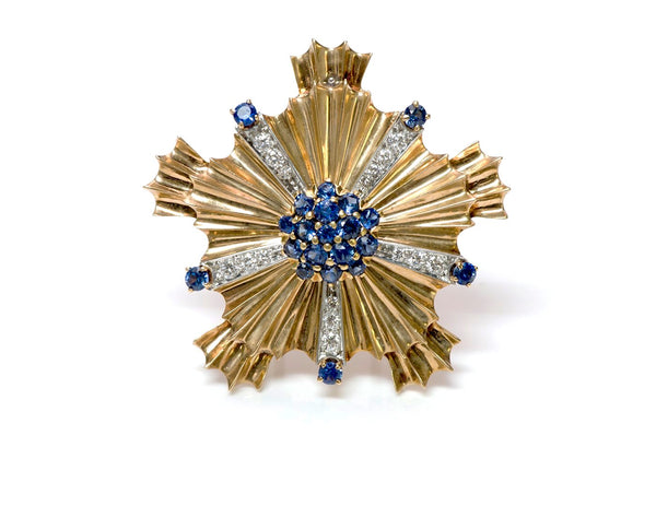 Tiffany & Co. Retro Starburst Sapphire Diamond 14K Gold Pin Brooch