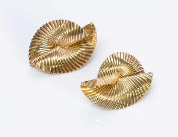 Tiffany & Co. Gold Fluted Fan Earrings 3
