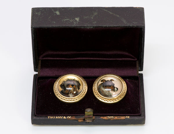 Antique Tiffany Reverse Crystal Gold Dog Cuff Buttons