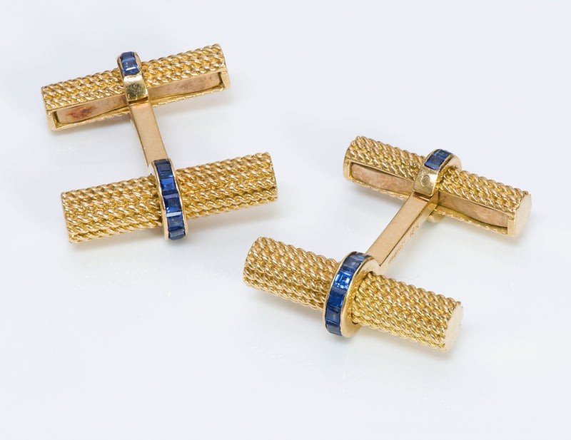 Tiffany & Co. Sapphire 18K Gold Baton Bar Cufflinks