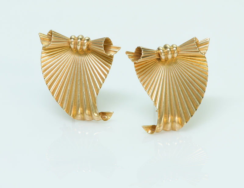 Tiffany & Co. by George Schuler 14K Yellow Gold Fluted Clips 2