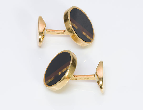 Tiffany & Co. 18K Gold Jasper Tiger's Eye Cufflinks