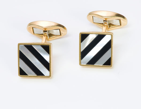 Tiffany & Co. Onyx Mother Pearl Gold Cufflinks