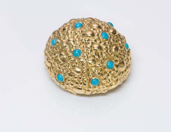 Tiffany & Co. Dome Gold Turquoise Brooch