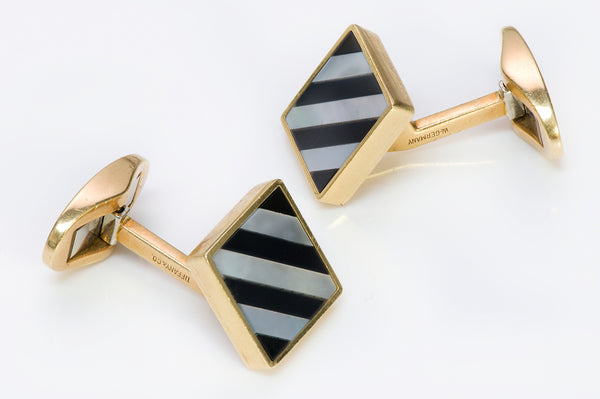 Tiffany & Co. Inlay Onyx Pearl Gold Cufflinks