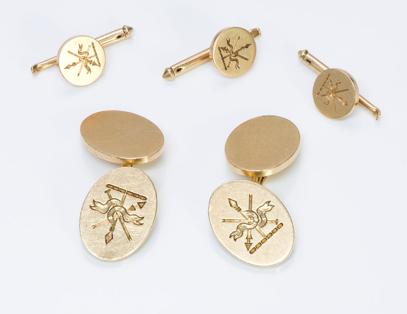 Tiffany & Co. 14K Gold Crest Cufflinks Studs Set