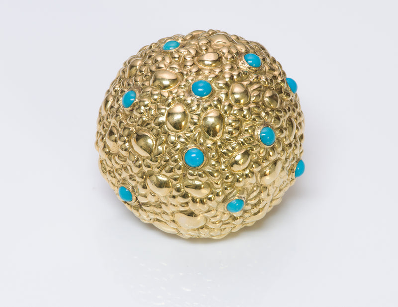 Tiffany & Co. Dome 18k Gold Turquoise Brooch