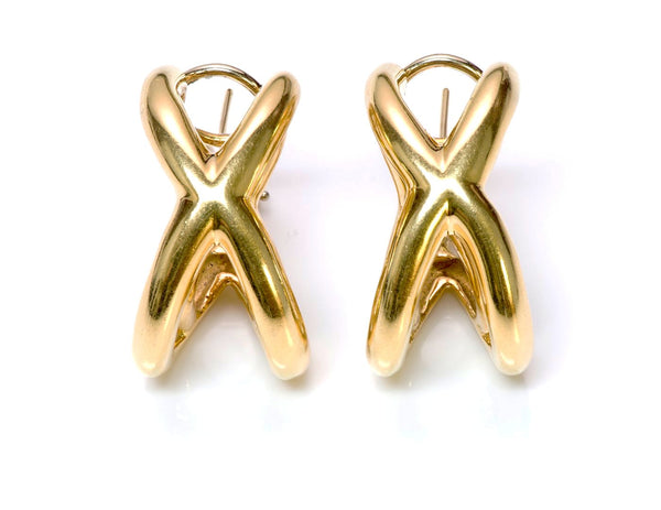 Tiffany & Co. Donald Claflin Crisscross 18K Gold Earrings 1