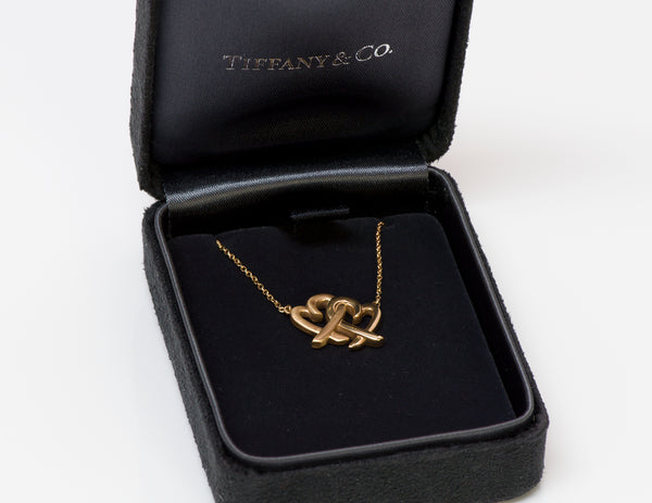 Tiffany & Co. Paloma Picasso 18K Gold Loving Heart Interlocking Pendant