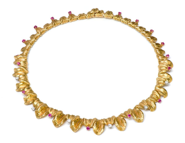 Tiffany & Co. 18K Gold Ruby Diamond Necklace